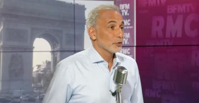 Tariq Ramadan invité de l'émission de Jean-Jacques Bourdin, sur RMC, le 6 septembre 2019. © Capture d'écran BFM-TV