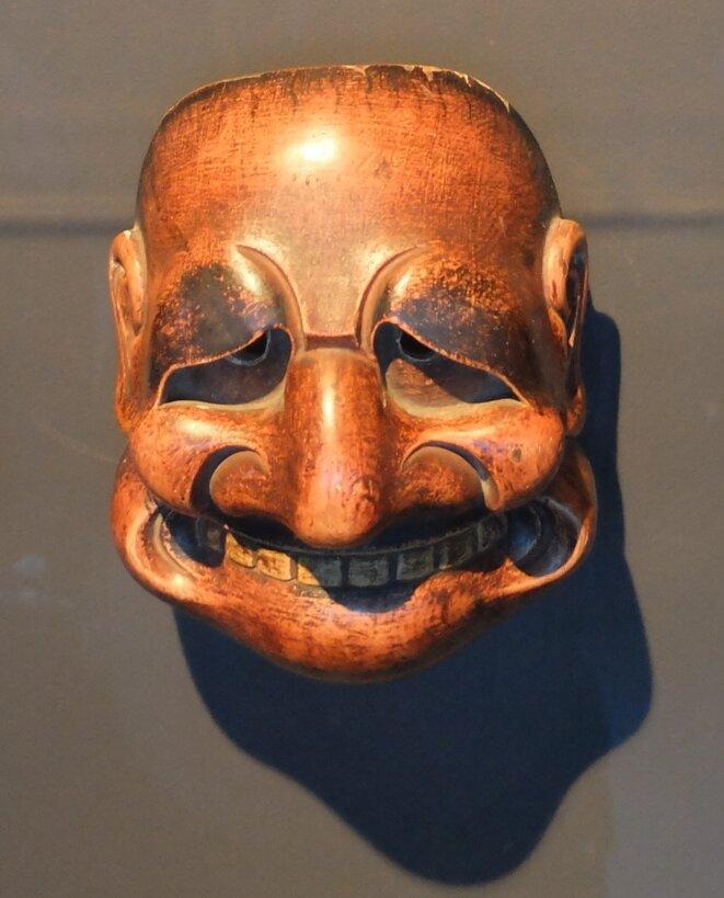 Buaku, masque japonais du théâtre Kyôgen, Musée du Quai Branly-Jacques Chirac [Photo YF]