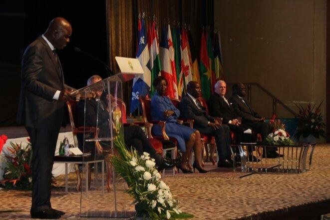 Le Président de l'Assemblée nationale M. Amadou Soumahoro au pupitre © Direction de l'Information et de la Communication de l'Assemblée Nationale