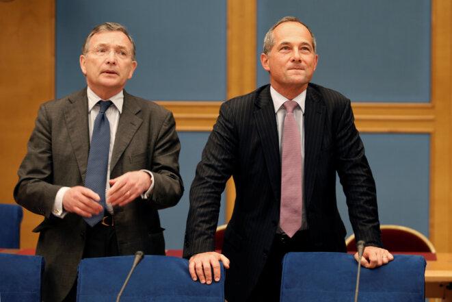 Patrick Suet (à g.) et Frédéric Oudéa, deux des plus hauts dirigeants de la Société générale, au moment de l'affaire libyenne. © Reuters