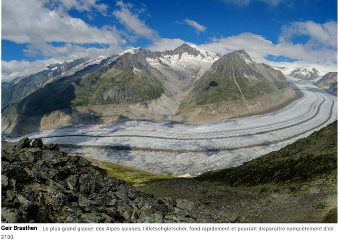 Le plus grand glacier des Alpes suisses, l'Aletschgletscher, fond rapidement et pourrait disparaître complètement d'ici 2100 © Geir Braathen