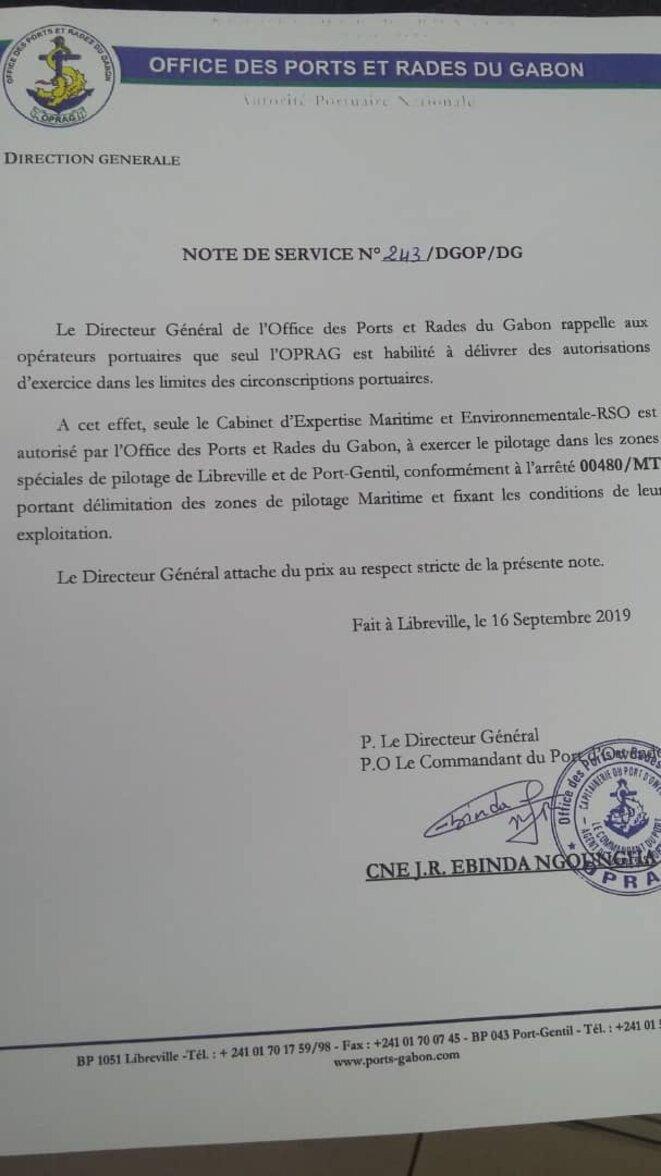 2019 - NOTE DE SERVICE N° 243DGOPDG, signé par CNE J.R. EBINDA NGHOUNGHA
