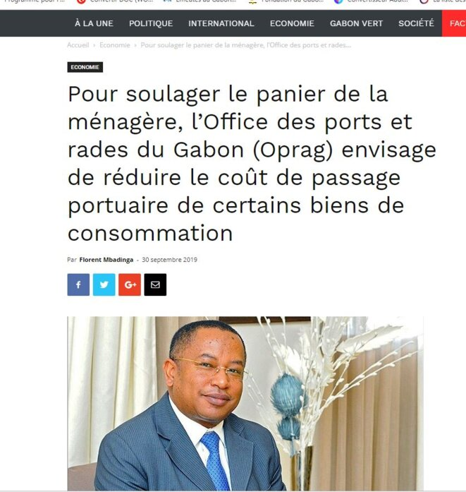 Baisse des prix du panier de la ménagère, Landry Régis LACCRUCHE LELABOU, Directeur Général de l'Office des ports et Rades du Gabon (OPRAG)