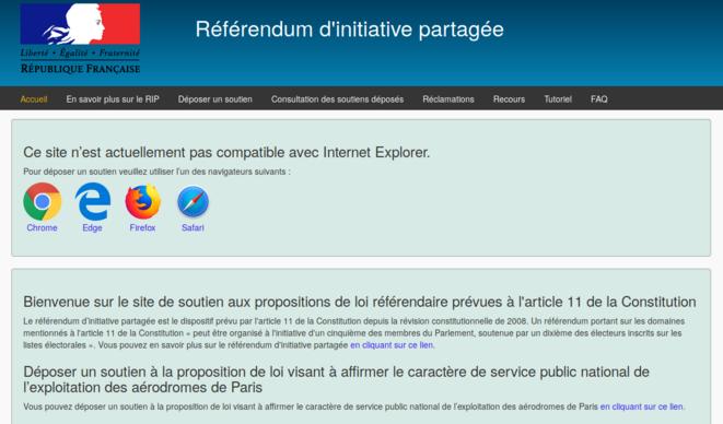 Capture d'écran de la page d'accueil du site officiel