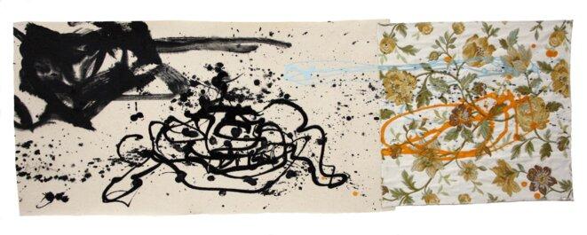 Luc Rigal, « Floramabilités I », acrylique sur deux toiles assemblées, 40 x 116 cm, 2019