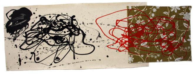 Luc Rigal, « Floramabilités II », acrylique sur deux toiles assemblées, 42 x 130 cm, 2019