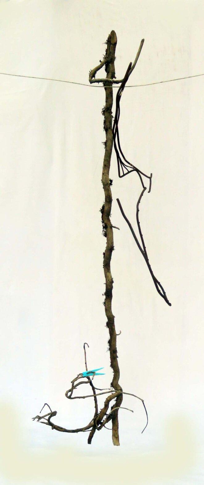 Jean Maureille, pièce de l'installation « Linge éphémère », branche de lierre avec pince à linge, 2019