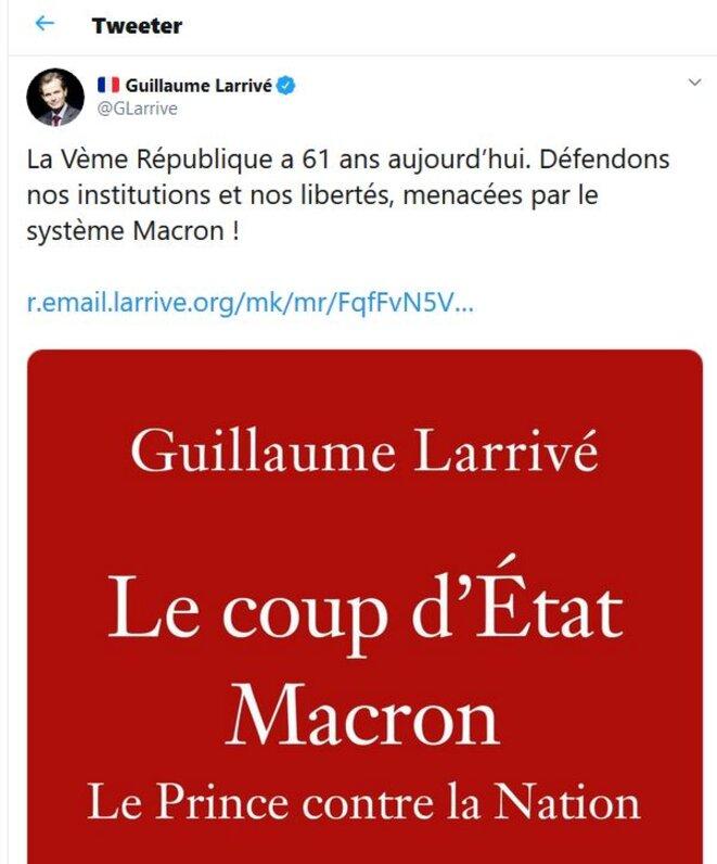 Tweet public de Guillaume Larrivé (4/10/19) — Copie d'écran. © https://twitter.com/GLarrive/status/1180039739946221568