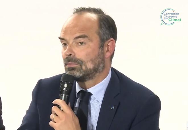 Le premier ministre Edouard Philippe lors du lancement de la convention citoyenne pour le climat le 4 octobre 2019. © DR / Capture d'écran