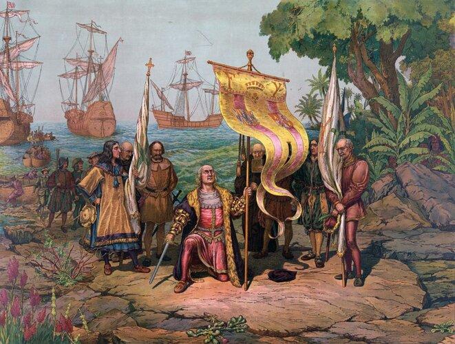 L'arrivée de Christophe Colomb en Amérique.