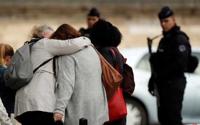 Aux abords de la préfecture de police de Paris, le 3 octobre. © Reuters