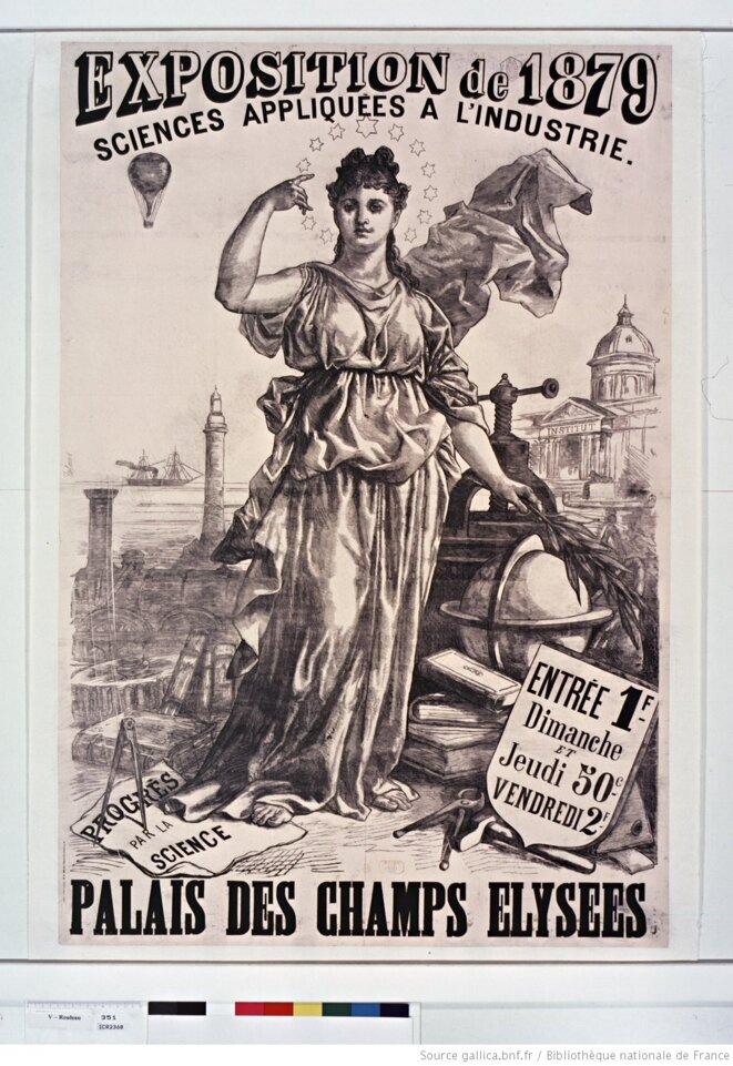 Mise en scène du progrès moderne dans une affiche de 1879, Paris. Source: gallica.bnf.fr.