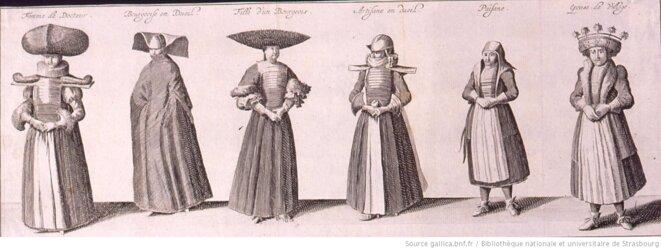 Femme de Docteur. Bourgeoise en deuil. Fille d'un Bourgeois. Artisane en deuil. Païsane. Epouse de Village - [Alsace]. Gravure, 1650, s.l. Source: gallica.bnf.fr