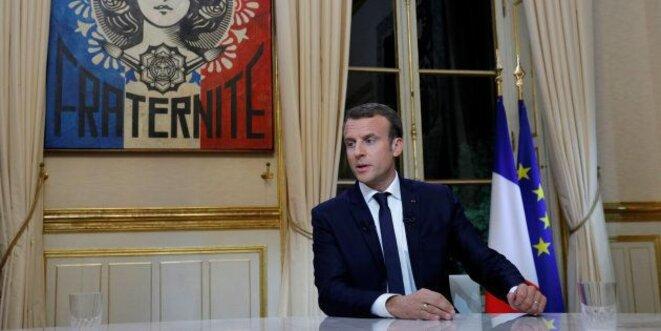 Emmanuel Macron avant son intervention télévisée du 15 octobre 2017. © Philippe Wojazer/Reuters