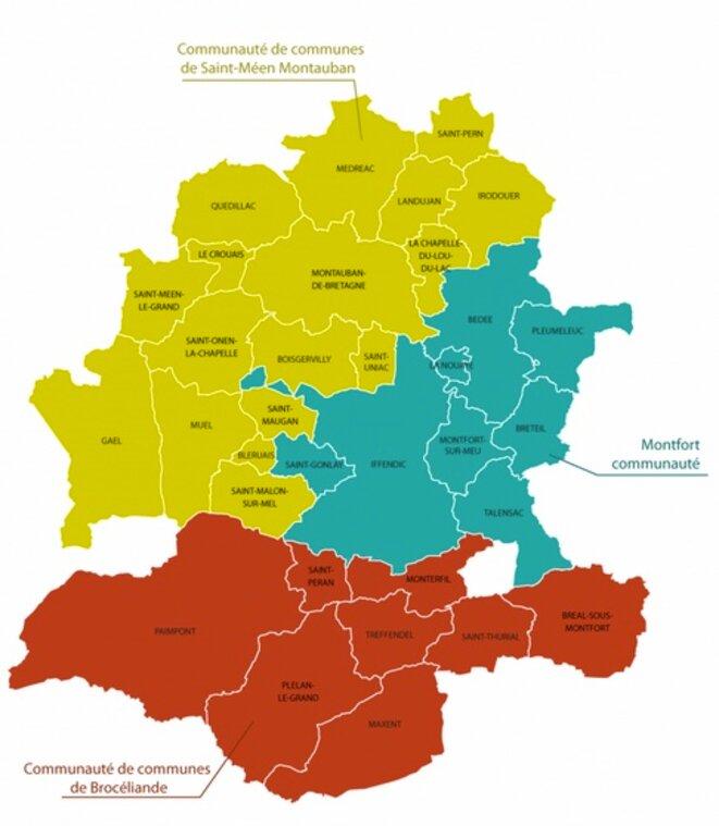 Les trois Communautés de Communes du Pays de Brocéliande.