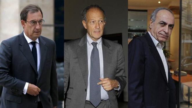 De gauche à droite : Nicolas Bazire, Thierry Gaubert et Ziad Takieddine, trois des prévenus du procès Karachi. © Reuters