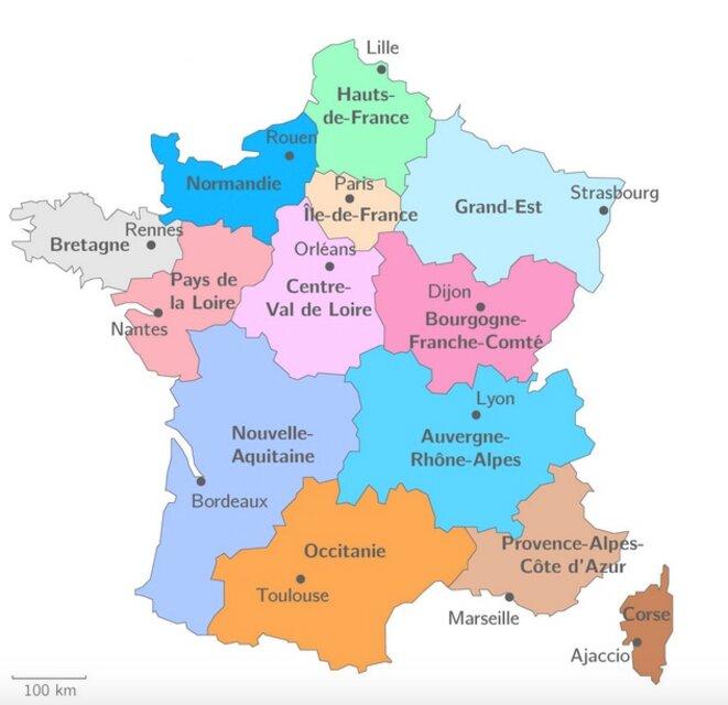 Une carte des Régions très simplifiée sous l'ère François Hollande © Ministère de l'Intérieur