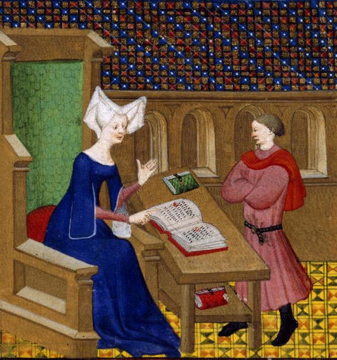 """Christine et son fils"", Christine de Pizan, ""Livre de la reine"", British Library, Harley 4431, fol. 261v, 1410-1414."