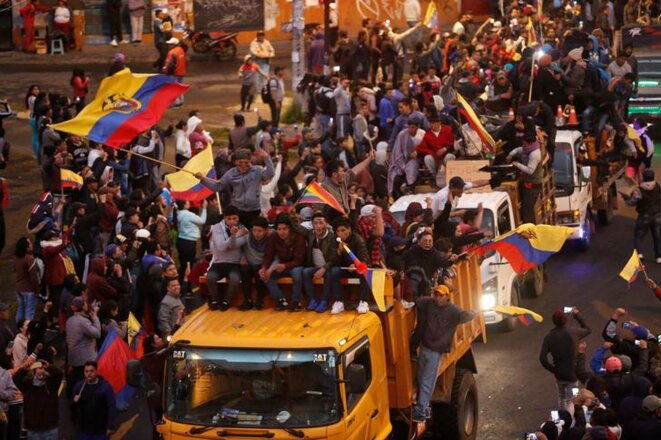 Des manifestants arrivent à Quito (Équateur) le 7 octobre 2019. © Reuters