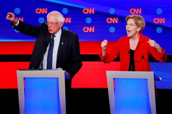 Bernie Sanders et Elizabeth Warren lors d'un débat sur CNN, le 26 septembre 2019. © Reuters