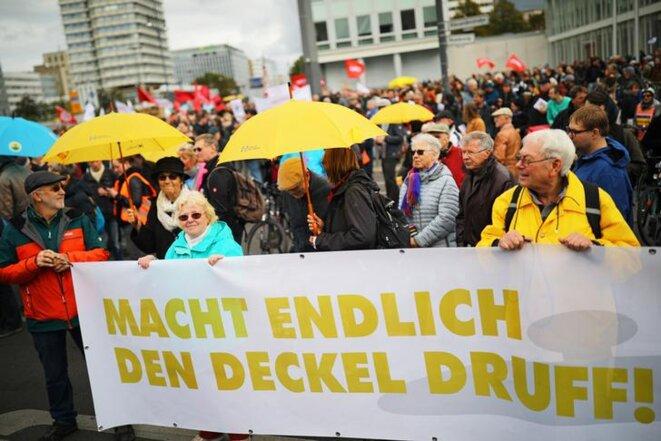 Manifestation contre le coût des loyers à Berlin (Allemagne) le 3 octobre 2019. © REUTERS/Hannibal Hanschke