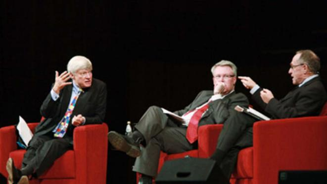 Geoffrey Robertson (left) and Alan Dershowitz (right) in the 2010 Sydney Festival of Dangerous Ideas.