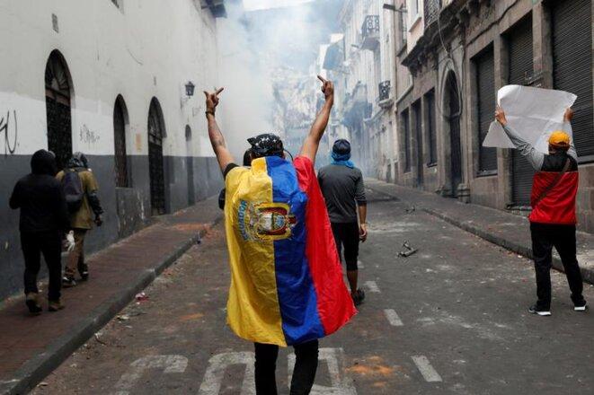 Des manifestants dans les rues de Quito, le 9 octobre 2019. © Reuters