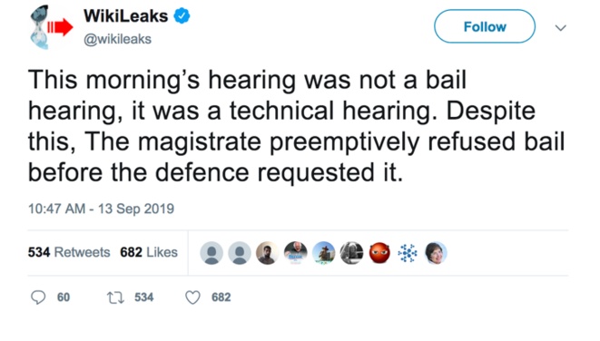 September 2019, WikiLeaks tweet comment on hearing.