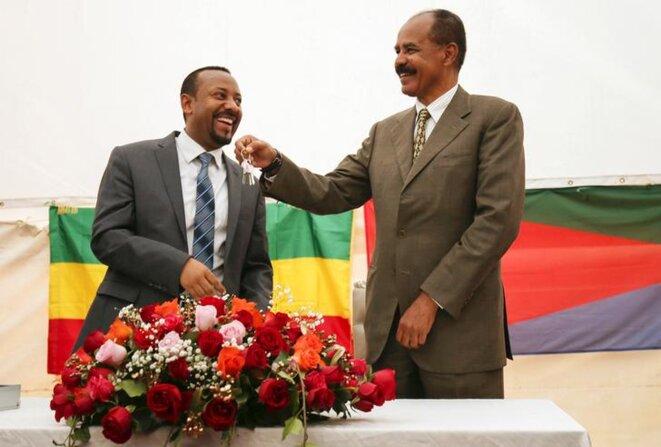 Le premier ministre éthiopien Abiy Ahmed et le président érythréen Isaias Afwerki. © Reuters