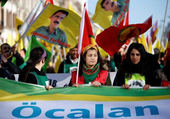 Une manifestation de soutien au leader du PKK Abdullah Öcalan, à Strasbourg, en février 2019. © Reuters