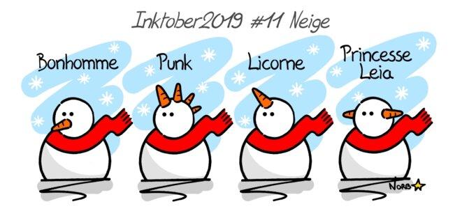Inktober 2019 #11 Snow (bonhomme de neige) © Norb