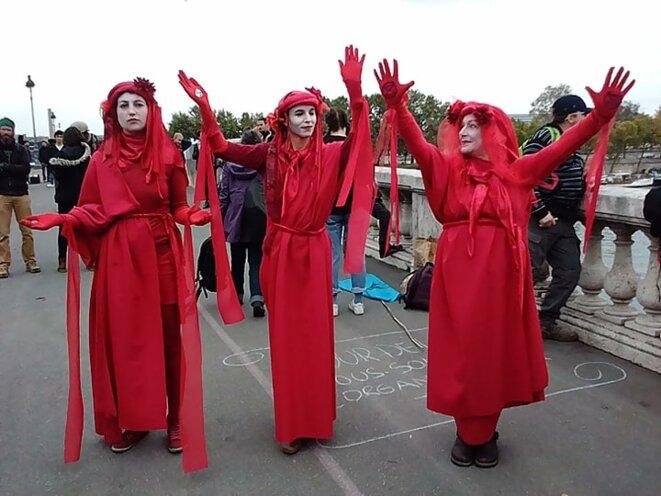 « La brigade rouge représente le rouge sang de toutes les espèces qui s'éteignent », explique Mangoa, militante de 29 ans. © Khedidja Zerouali