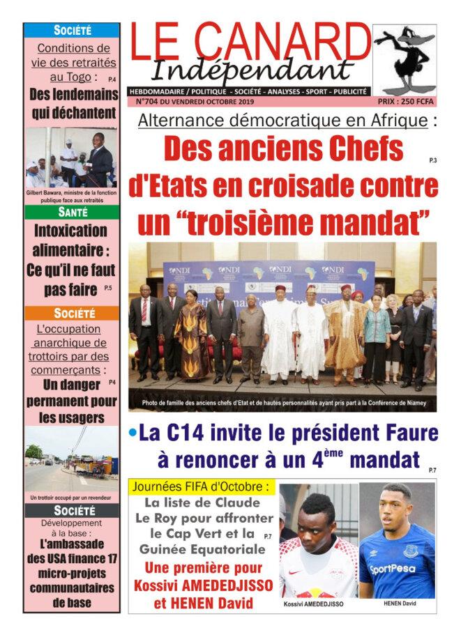 Une du quotidien Le Canard Indépendant du 11 octobre 2019