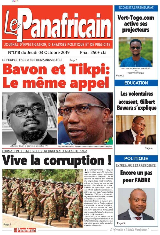 Une du journal Le Panafricain du 3 octobre 2019
