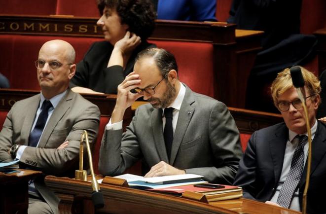 Jean-Michel Blanquer et Édouard Philippe à l'Assemblée nationale. © Reuters