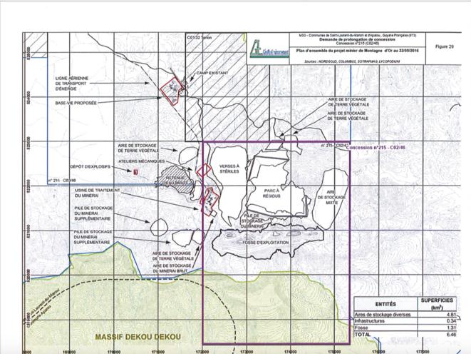 Plan général du projet de mine Montagne d'or.
