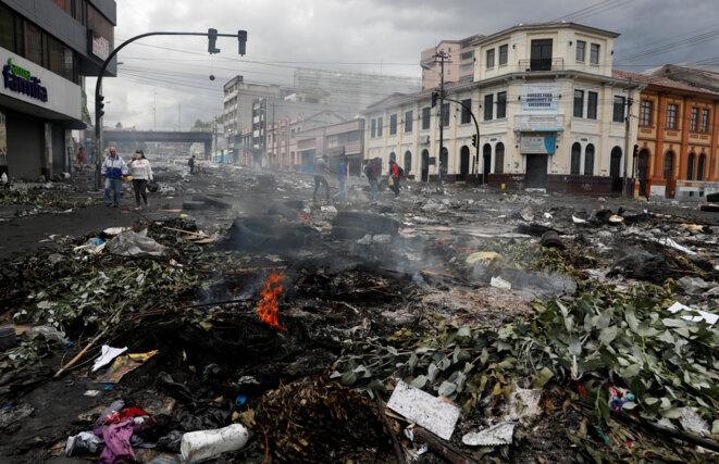 Quito après la manifestation du 9 octobre 2019. © Reuters