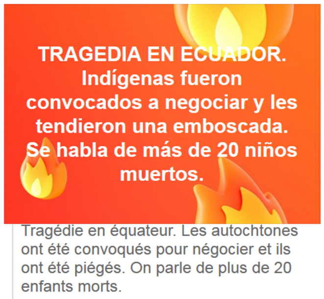 Appels sans réponses © Réseaux sociaux équatoriens