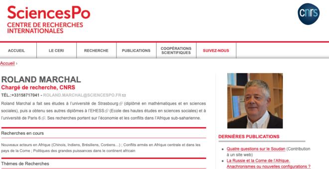 La page de Roland Marchal sur le site du CERI. © DR