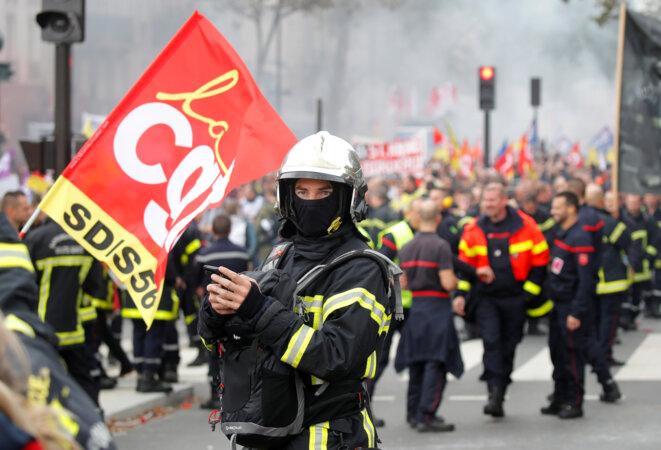 Dans la manifestation parisienne du 15 octobre 2019. © Charles Platiau/Reuters