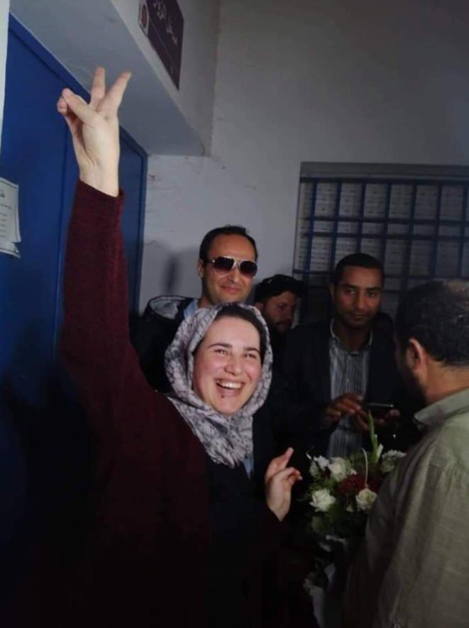 Hajar Raissouni à sa sortie de prison mercredi 16 octobre. © dr