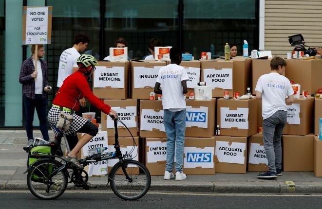 Manifestación en Londres en 2018 contra el « no deal », que podría provocar penurias en medicamentos y alimentos, según sus detractores. © Reuters/Peter Nicholls