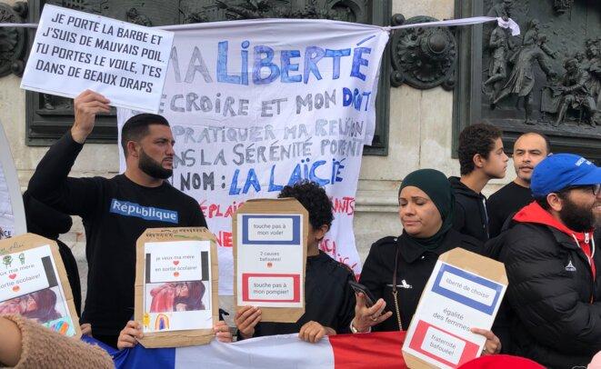 """Lors du """"Rassemblement fraternel contre l'islamophobie"""", le 19 octobre 2019. © MJ"""