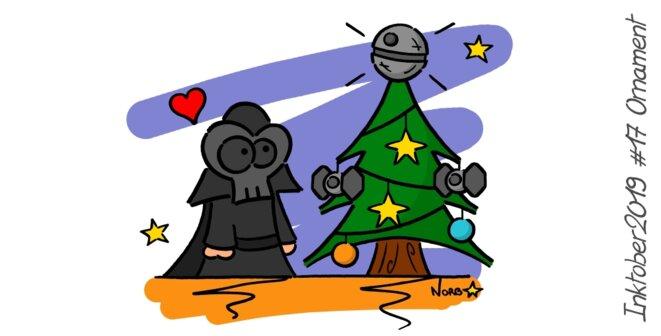 Inktober 2019 #17 Ornament (Star Wars-Dark Vador-Christmas) © Norb