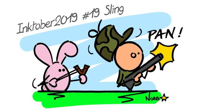 Inktober 2019 #19 Sling (lapin-chasseur) © Norb