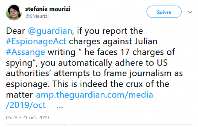 capture écran tweet Stefania Maurizi
