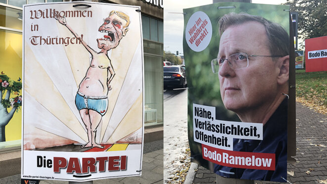 Björn Höcke et Bodo Ramelow, têtes de liste de l'AfD et de Die Linke pour les élections régionales du 27 octobre en Thuringe. © DH