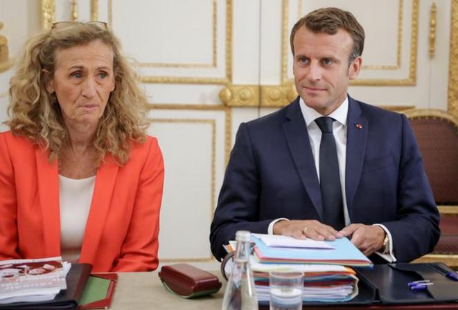 Nicole Belloubet et Emmanuel Macron à l'Élysée, le 4 septembre. © Reuters