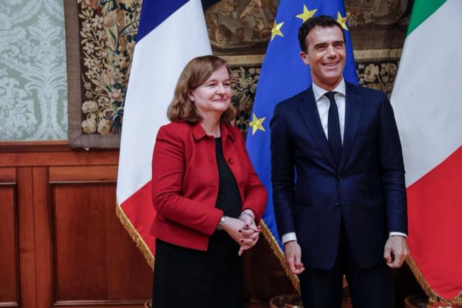 The lead European election candidate for President Macron's ruling LREM party, Nathalie Loiseau, and fellow candidate Sandro Gozi. © Facebook/Sandro Gozi