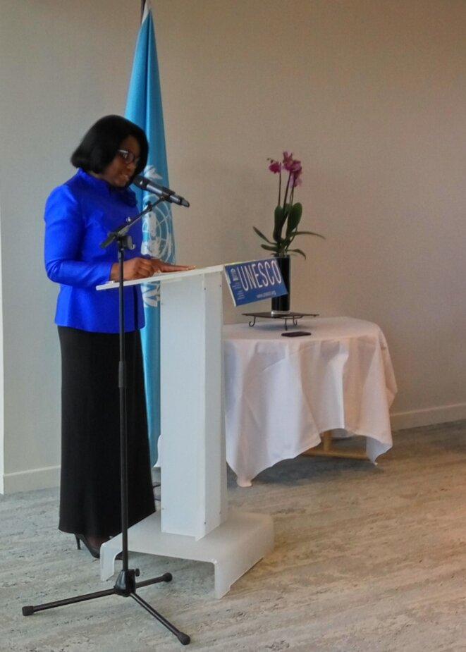 Mme Rachel Annick OGOULA AKIKO ép. OBIANG MEYO, Ambassadeur, Déléguée Permanente du Gabon auprès de l'UNESCO, Présidente du Groupe Afrique